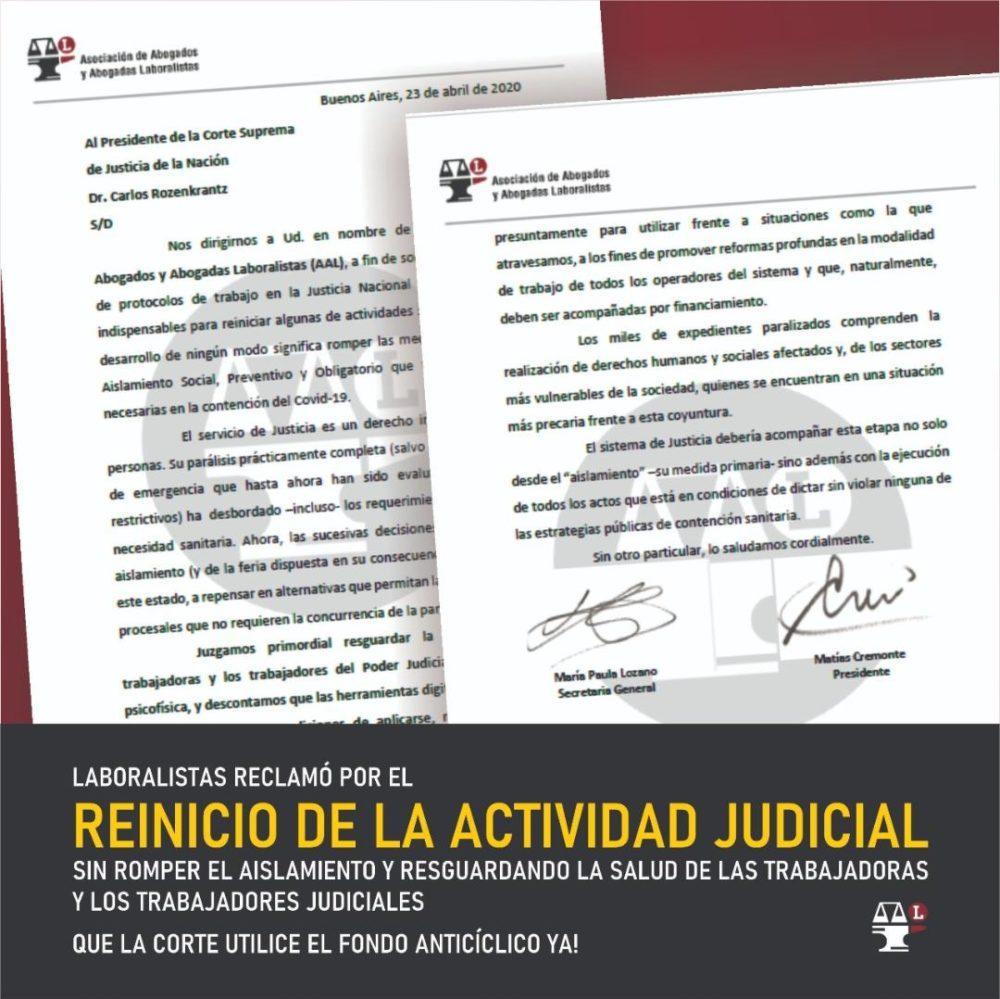 Laboralistas reclamó el reinicio de la actividad judicial