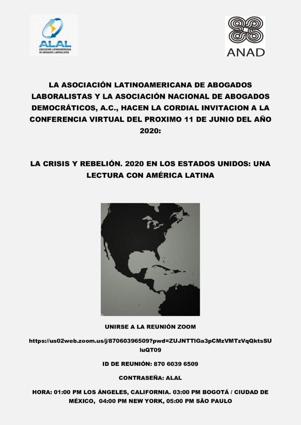 La crisis y rebelión. 2020 en los Estados Unidos: una lectura con América Latina.